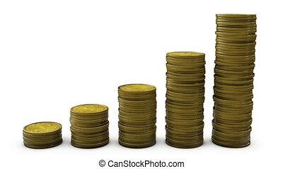 Finance bar graph with coins rising. HD with alpha.