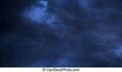 Dark blue night sky with clouds flying