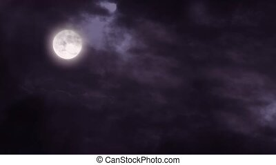 Full moon night sky - Full moon and clouds dark night sky.