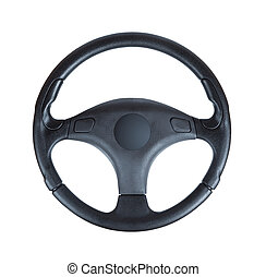 steering wheel of the car on a white background - Steering...