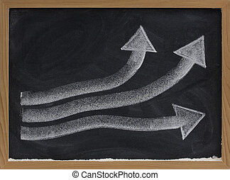 growth or progress concept on blackboard