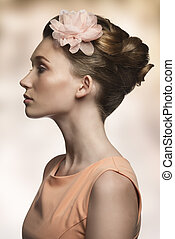 beauty woman in profile - beauty close-up portrait of very...