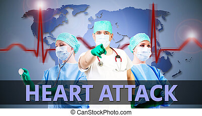 doctors heart attack - heart attack and doctors with medical...