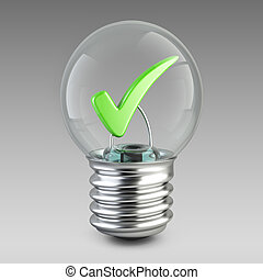 Success concept. Light bulb and green check mark.