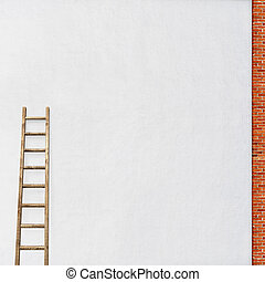 white wall with a wooden ladder - white stucco wall, red...