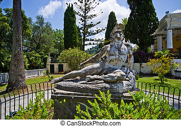 Statue of Wounded Achilles, Corfu, Greece - Statue of...
