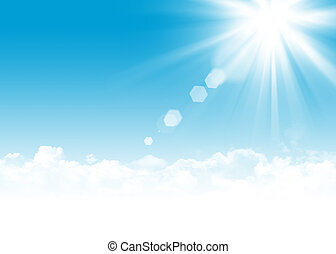Blue sky, clouds and sun abstract illustration - Blue sky,...