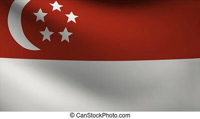 singapore flag waving gently in wind