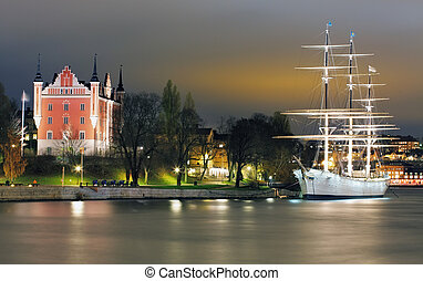 Old Town with historcal ship iin Stockholm, Sweden