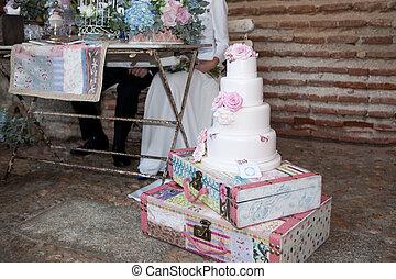 Fondant wedding cake and couple