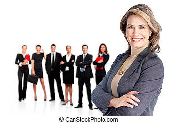 Business team - Smiling businesswoman and group of Business...