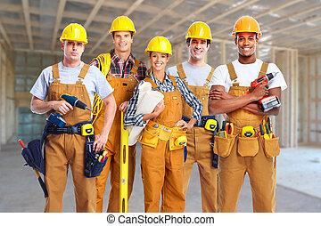 trabajadores, construcción, grupo