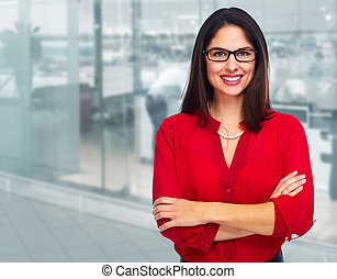 Young business woman. - Young smiling business woman over...