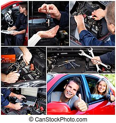 Car repair collage Mechanic with wrench in garage