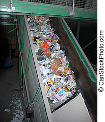 Recycling Plant 1 - Sorting of materials in a recycling...