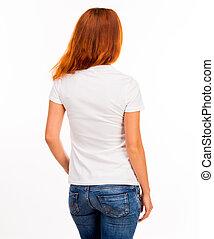 t-shirt, ragazza, bianco
