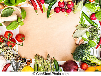 vegetables - Frame from vegetables on a table