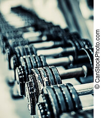 dumbbells - Rows of dumbbells in the gym