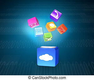 Cloud box illuminated colorful app icons floating on tech...