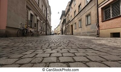 Clips set: paving, cobble road in historical center of...