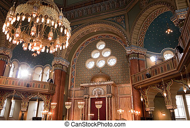 interior of Sofia synagogue - restored interior of the...