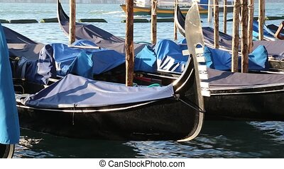 gondola in the sea of Venice Island near saint mark square