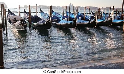 gondola on Venetian Lagoon - gondola in the sea of Venice...