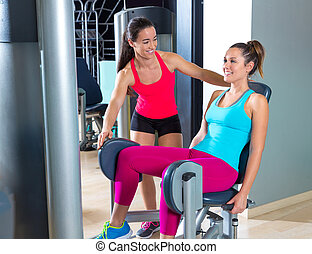 Hip abduction women exercise at gym indoor workout and...