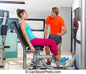 Hip abduction woman exercise at gym closing - Hip abduction...
