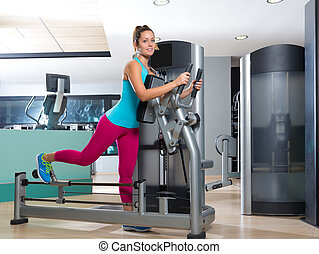 Gym glute exercise machine woman workout