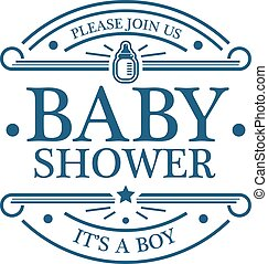 Baby Shower Boy Emblem - Blue baby boy shower invitation...