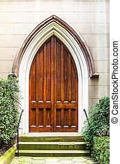 Old Wood Church Door - Old, oak, arched wooden doors to a...
