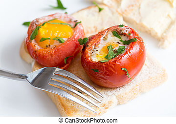 Eggs with tomatoes on toast - Baked, de-seeded tomatoes...
