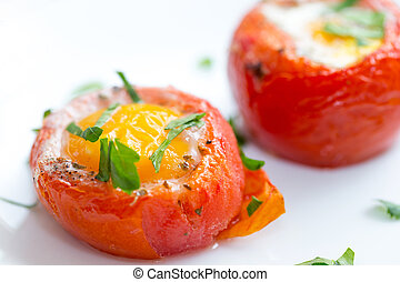 Eggs with tomatoes italian style - Baked, de-seeded tomatoes...