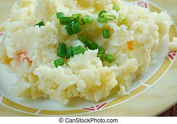 Champ - Irish dish.mashed potatoes and chopped spring onions...