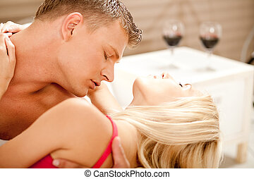 Hot couple embracing and making love - Passionate married...