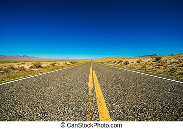 Nevada Backcountry Straight Rural Road Nevada Highway and...