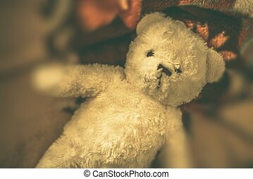 Vintage Teddy Bear on the Bed Vintage Toy