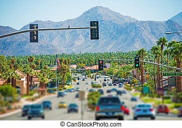Palm Springs Highway and the Cityscape. Palm Springs,...