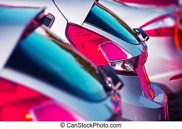 Cars Marketplace. Brand Cars For Sale Parked on the Lot. Car...