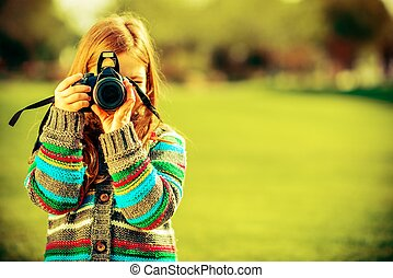 Caucasian Girl with Camera - Caucasian Girl with Large...