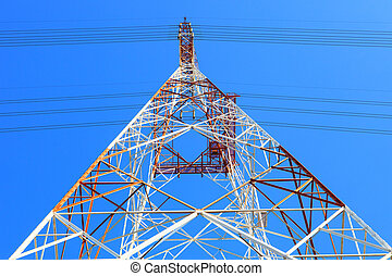 symmetry of high voltage electric power line tower metal...