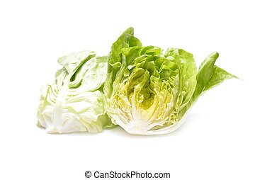 Fresh iceberg salad isolated on white background