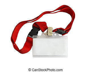 Badge - Blank badge on red strap isolated on white...