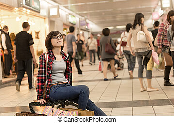 take rest - Shopping girl of Asian sit on chair and take...