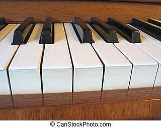 close-up of old piano keyboard - music abstract concept
