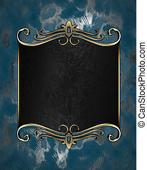 Abstract blue background with a black plate with gold trim