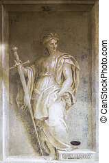 Monochrome fresco - ITALY, FLORENCE - 27 October 2014:...