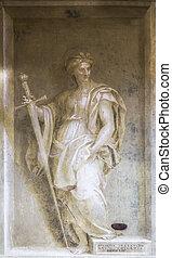 Monochrome fresco - ITALY, FLORENCE - 27 October 2014:...