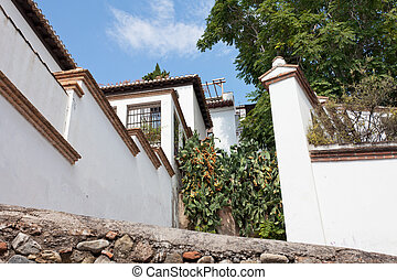 White houses and cactuses in the Arab quarter of Granada,...
